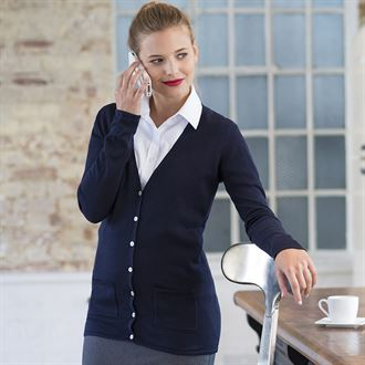Henbury Womens V-button Cardigan