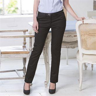 Henbury Womens 65/35 Flat Fronted Chino Trousers
