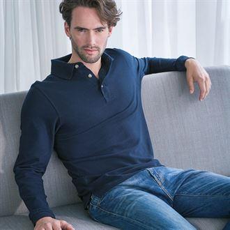 Henbury Long Sleeve Cotton Polo Shirt